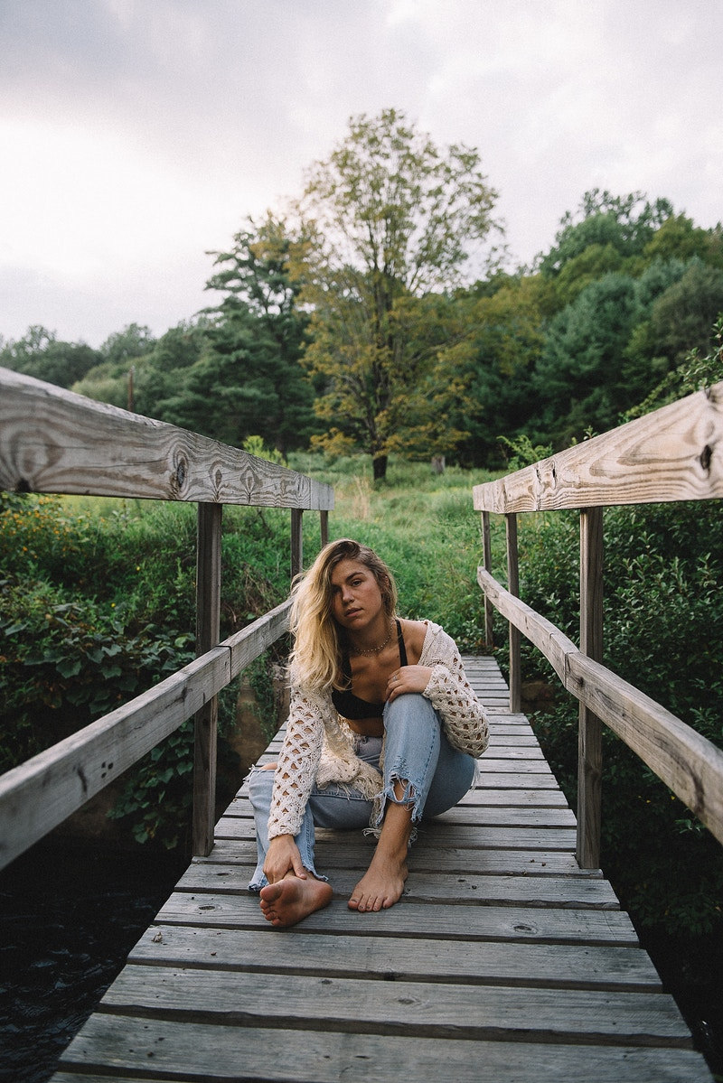 Drew Sara Holjes model THP Tobias Hibbs portrait PA sunset fashion editorial Boulevard Magazine published bralette bridge woods wanderlust - Editorial Fashion Portrait Photography Lehigh Valley Philadelphia | Tobias Hibbs