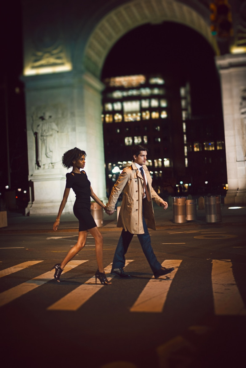Cobbler Concierge Company lifestyle NYC nighttime crosswalk Tobias Hibbs Fawn Monique MUA Alisha Nycole New York - Editorial Fashion Portrait Photography Lehigh Valley Philadelphia | Tobias Hibbs