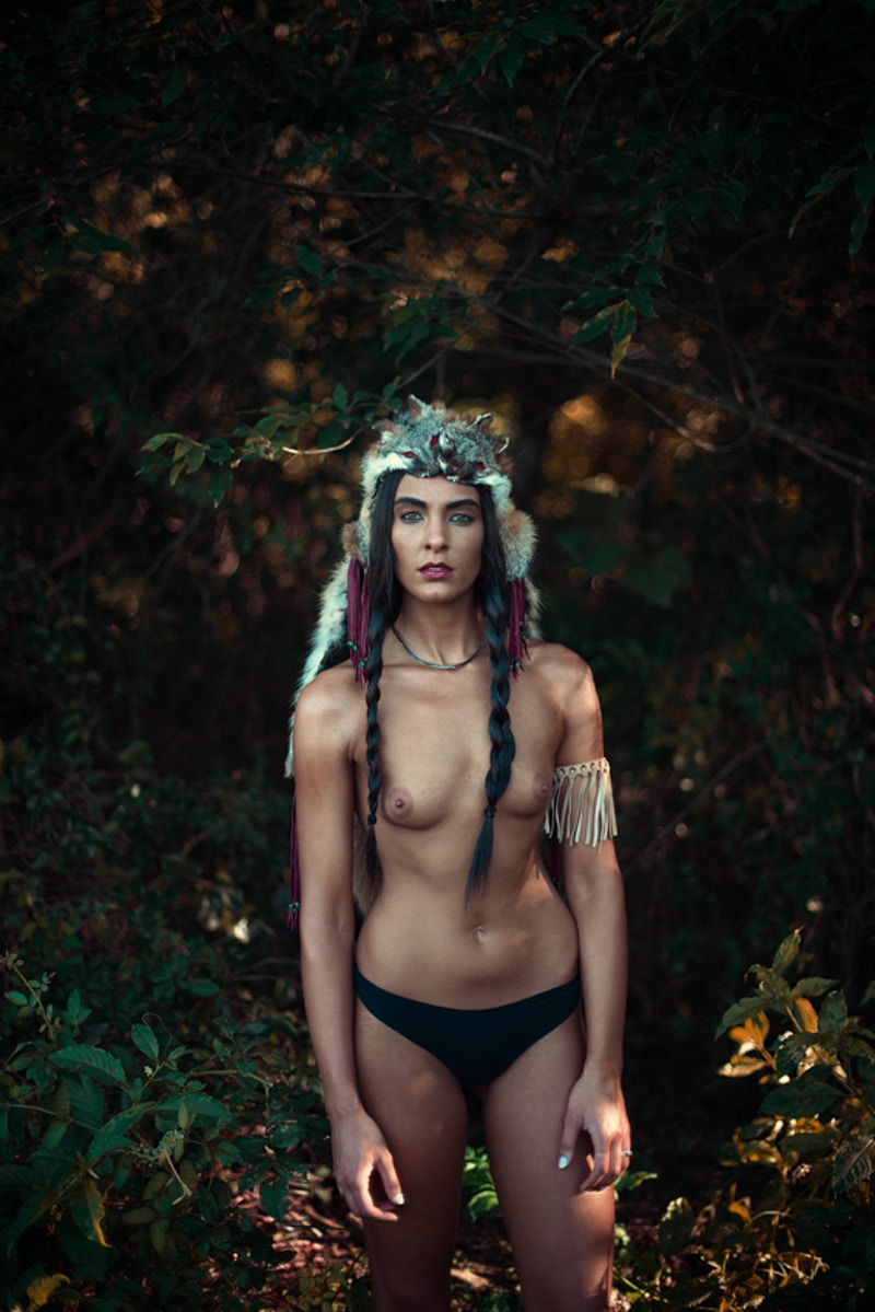 Paris fashion editorial published Tobias Hibbs model THP Fawn Monique MUA Native American history  nude headdress - Editorial Fashion Portrait Photography Lehigh Valley Philadelphia | Tobias Hibbs