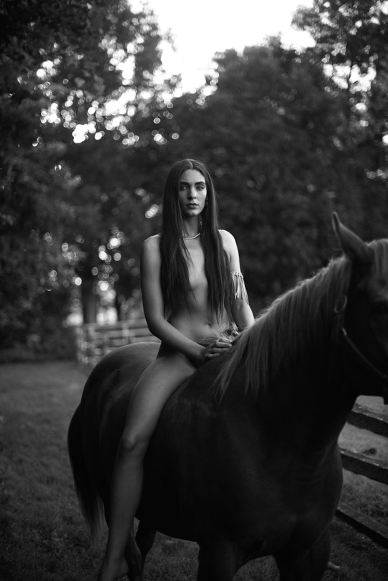 Paris fashion editorial published Tobias Hibbs model THP Fawn Monique MUA Native American history nude horse bareback - Editorial Fashion Portrait Photography Lehigh Valley Philadelphia | Tobias Hibbs