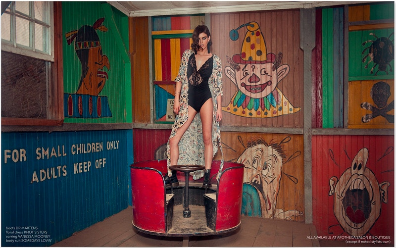 Kristen Coffey Bushkill Theme Park Pennsylvania fashion editorial published Tobias Hibbs model THP clowns funhouse teacup - Editorial Fashion Portrait Photography Lehigh Valley Philadelphia | Tobias Hibbs