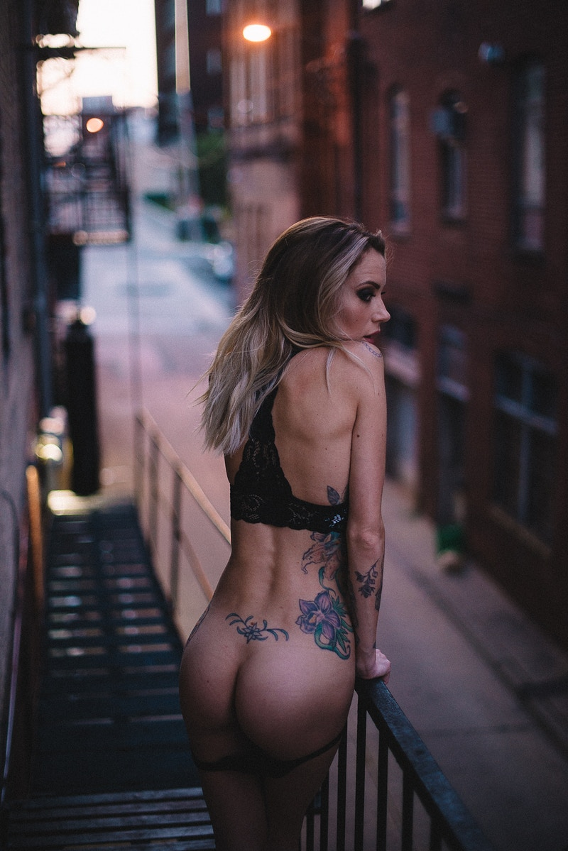 butt booty bum sexy naked alt tattoo model Jennifer Lynn Tobias Hibbs THP fire escape - Editorial Fashion Portrait Photography Lehigh Valley Philadelphia | Tobias Hibbs
