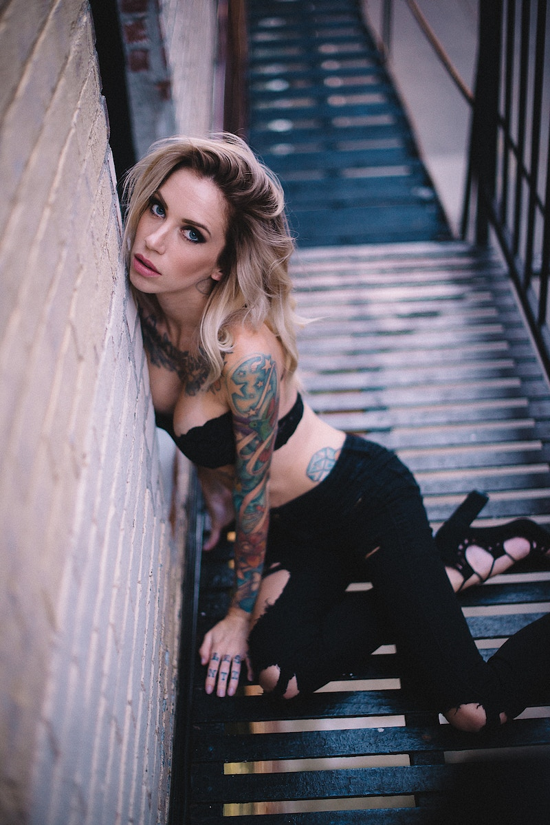 nude alt tattoo model Jennifer Lynn Tobias Hibbs THP fire escape portrait - Editorial Fashion Portrait Photography Lehigh Valley Philadelphia | Tobias Hibbs
