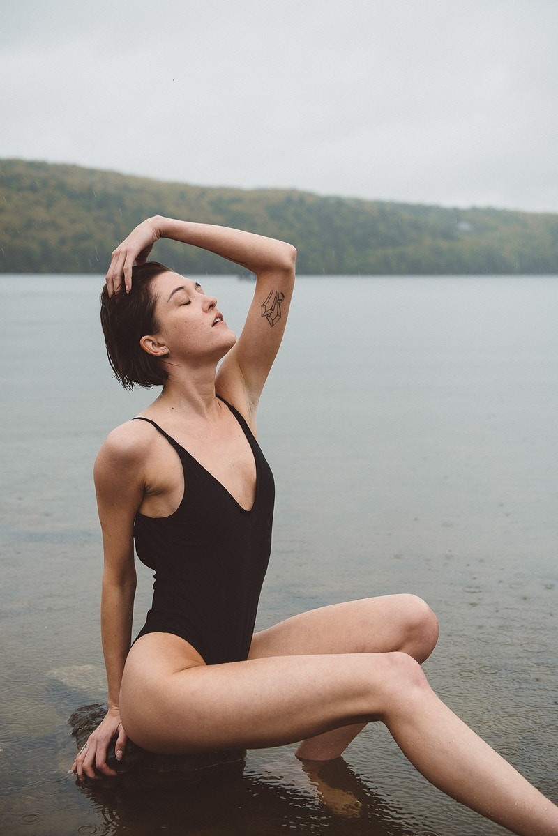 portrait fashion editorial THP Ally rain cloudy wet Beltzville lake swimsuit - Editorial Fashion Portrait Photography Lehigh Valley Philadelphia | Tobias Hibbs