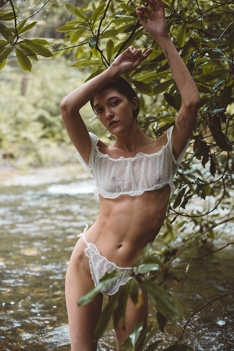 portrait fashion editorial THP Ally rain cloudy wet Beltzville stream lingerie - Editorial Fashion Portrait Photography Lehigh Valley Philadelphia | Tobias Hibbs