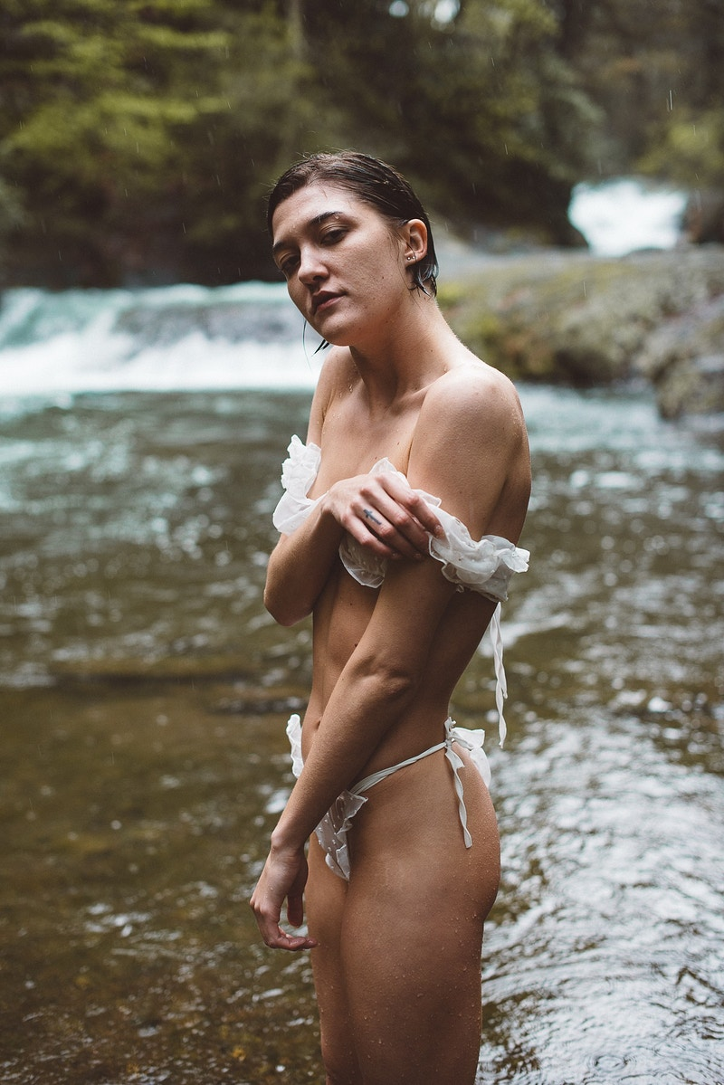 portrait fashion editorial THP Ally rain cloudy wet Beltzville lake lingerie - Editorial Fashion Portrait Photography Lehigh Valley Philadelphia | Tobias Hibbs