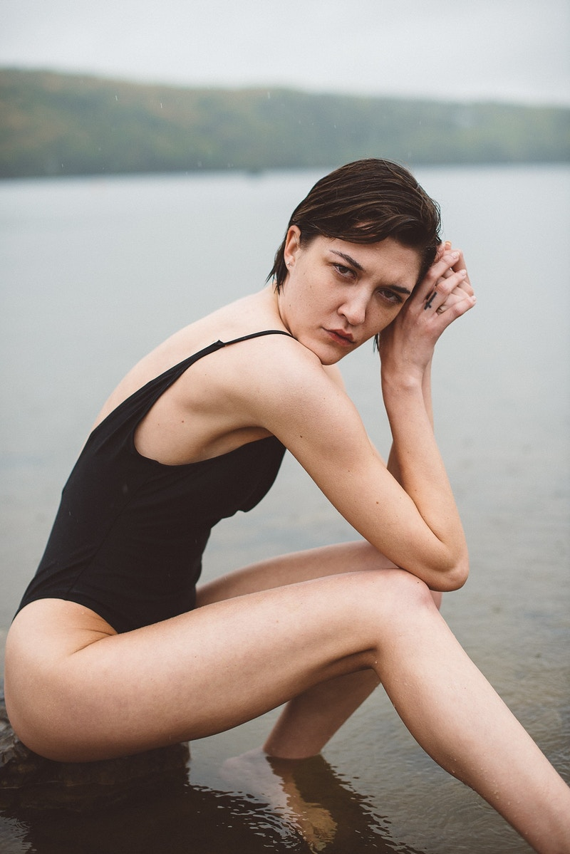 portrait Ally rain cloudy wet Beltzville swimsuit - Editorial Fashion Portrait Photography Lehigh Valley Philadelphia | Tobias Hibbs