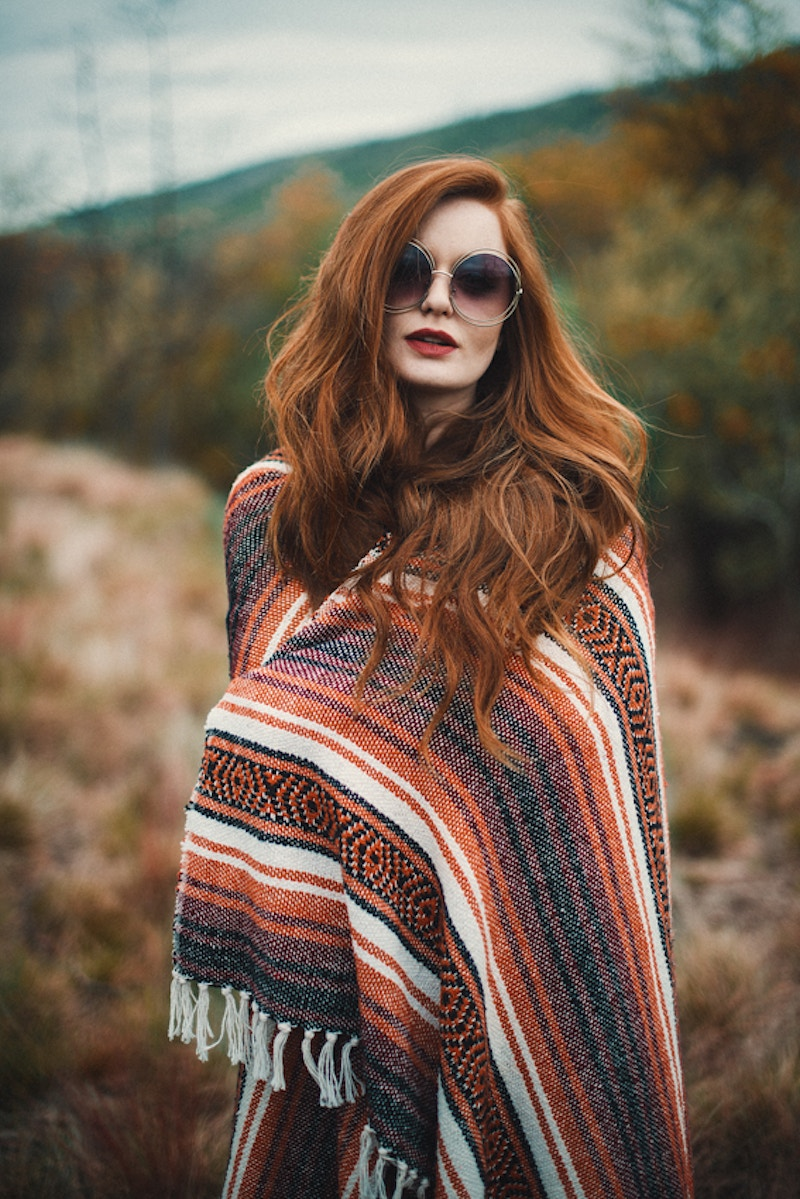 hippie blanket retro glasses red head model Tobias Hibbs THP fashion editorial Merika Beauty Co. Destiny Bohemian - Editorial Fashion Portrait Photography Lehigh Valley Philadelphia | Tobias Hibbs