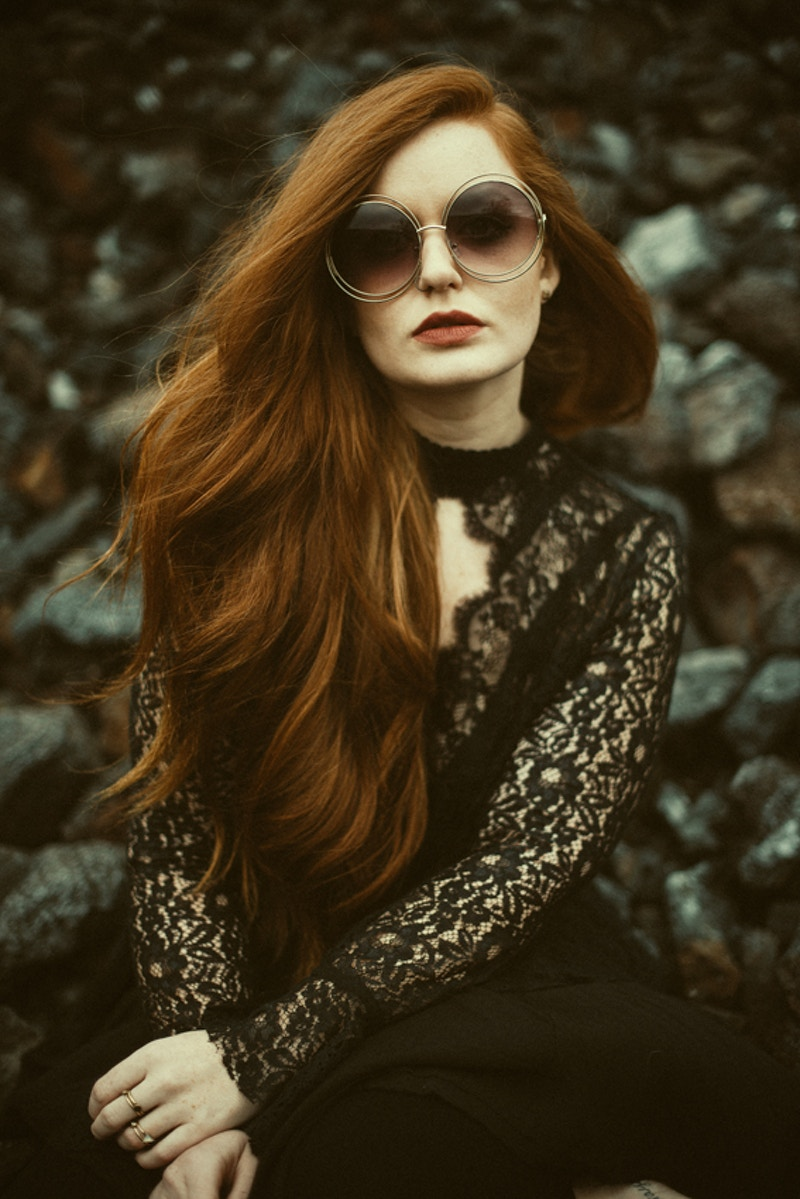 Destiny redhead model Tia Drinnen MUA beauty THP fashion editorial rocks vintage glasses - Editorial Fashion Portrait Photography Lehigh Valley Philadelphia | Tobias Hibbs