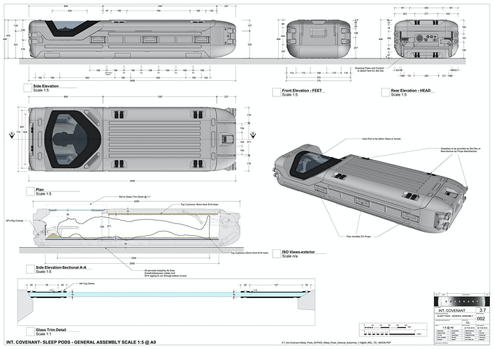 USCSS Covenant Crew Cryo Pods - Working Drawings - Tony Drew | Art Direction & Design
