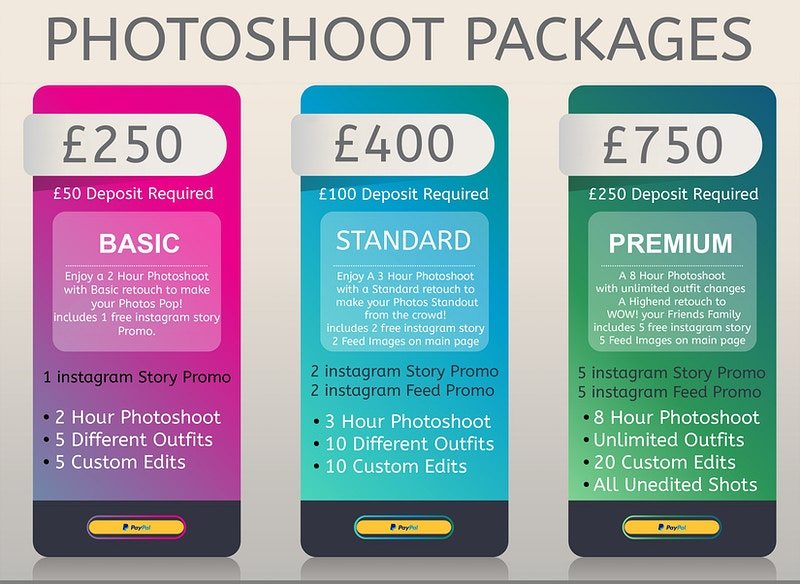 Photoshoot Packages - UVPRO | Glamour & Fashion Photography