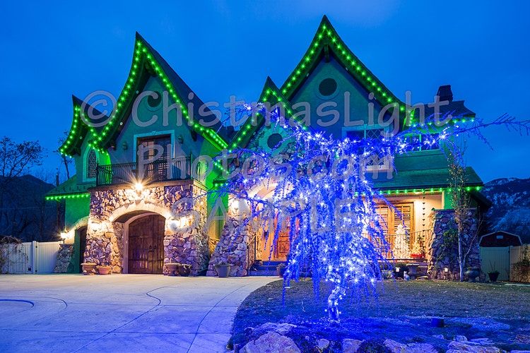 Green LED Christmas lights ginger bread house - Vance Brand Photography