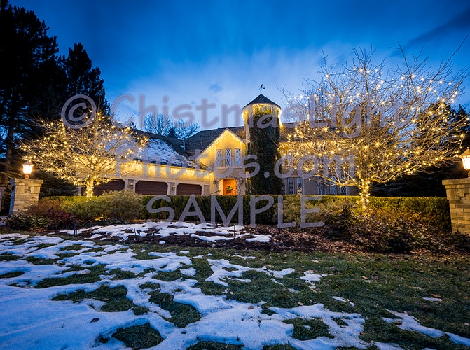 Christmas lights on a classic Denver house - Vance Brand Photography