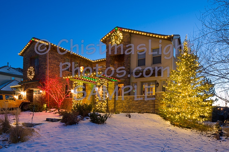Snoopy house with Christmas lights - Vance Brand Photography