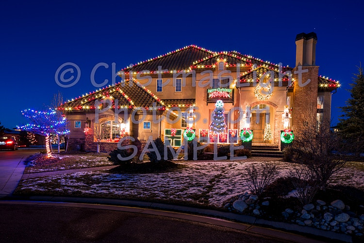 Red & White Christmas Lights with decor - Vance Brand Photography