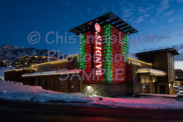 Christmas Lights on Bandit Grill - Vance Brand Photography