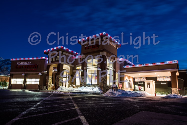 Christmas Lights on car wash - Vance Brand Photography