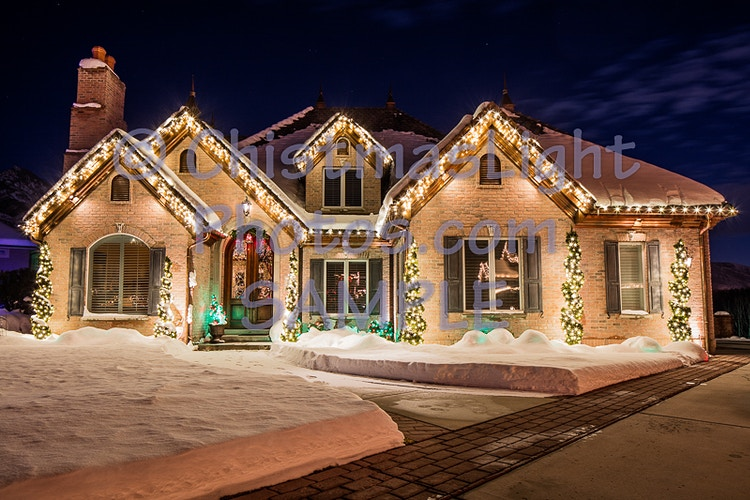 C7 Christmas lights with Icicle lights on a house - Vance Brand Photography