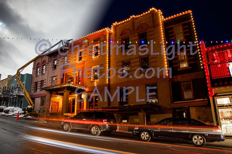 Park City main street Christmas lights - Vance Brand Photography