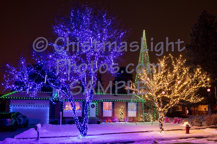 Small house done right in blue green Christmas Lights - Vance Brand Photography