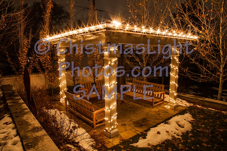 Christmas lights on a pergola - Vance Brand Photography