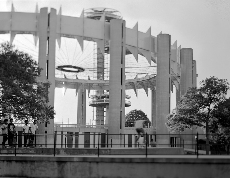 world's fair remnants with skaters - Victor Cohen