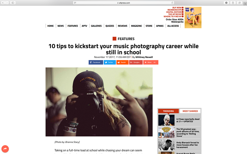 Article Written for AP - Whitney Newell//Music Photographer