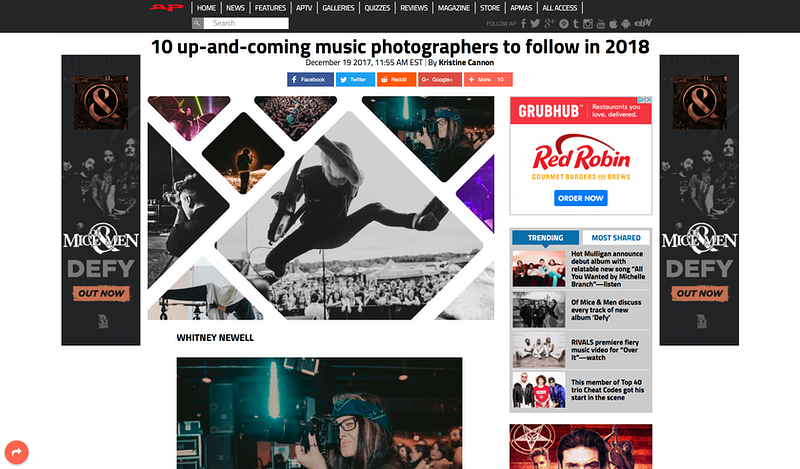Feature in AP - Whitney Newell//Music Photographer